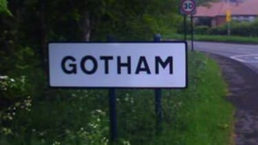 Jokers steal sign from tiny British village of Gotham