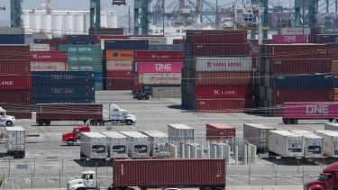 Shipping containers from China and Asia are unloaded in California.
