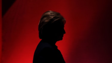 Hillary Clinton silhouetted in New Hampshire