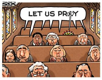 Editorial Cartoon U.S. church coronavirus