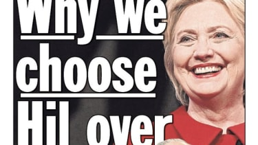 Hillary Clinton on the New York Daily News cover.