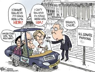 Political Cartoon U.S. Bernie Warren Klobuchar Democrats Iowa Caucus