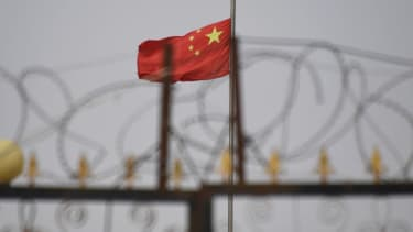 Chinese flag in Xinjiang province.