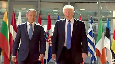 Trump in Brussels at EU headquarters