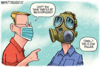 Editorial Cartoon U.S. covid mask pollen spring allergies