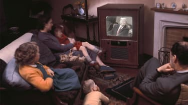 A family watching TV.