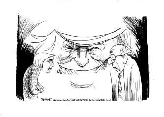 Political Cartoon U.S. Trump Bernie Sanders Elizabeth Warren debates