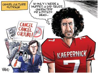 Editorial Cartoon U.S. kaepernick dr seuss potato head gop cancel culture
