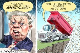 Political Cartoon U.S. Lindsey Graham Georgia ballots
