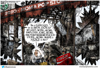 Editorial Cartoon U.S. small business justice George Floyd riots protests