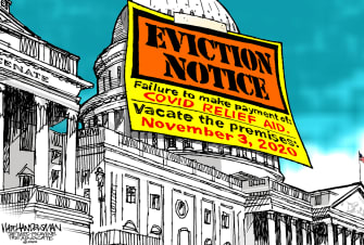 Political Cartoon U.S. Congress recess covid relief eviction
