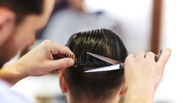 A man getting his hair cut.