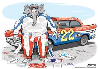 Political Cartoon U.S. georgia voting gop corporations