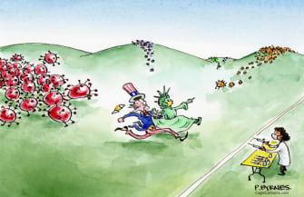 Editorial Cartoon U.S. covid vaccine variants
