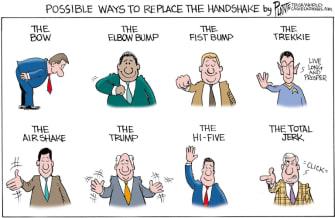 Editorial Cartoon U.S. handshake replacements coronavirus