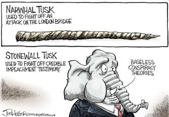 Political Cartoon U.S. London Brudhe Narwhal Tusk GOP Stonewall Elephant Tusk