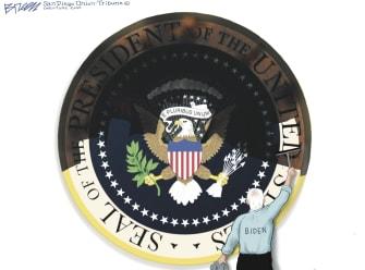 Political Cartoon U.S. Biden presidency