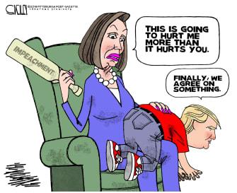 Political Cartoon U.S. Pelosi Spank Trump Impeachment Paddle