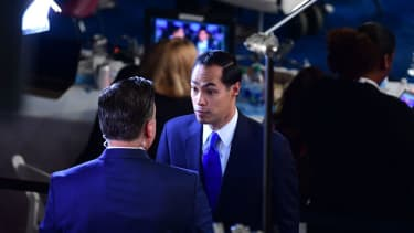 Julián Castro is interviewed after the Democratic debate on Thursday night.