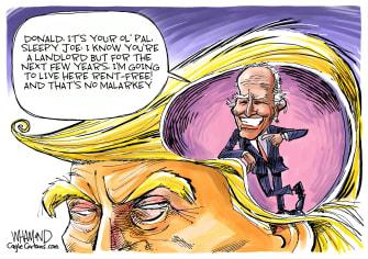 Political Cartoon U.S. Trump Joe Biden democratic primary presidential election 2020 campaign
