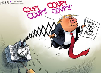 Political Cartoon U.S. Trump IG Report Coup Cuckoo Clock