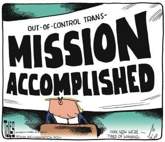 Political Cartoon U.S. Trump coronavirus transmission accomplished