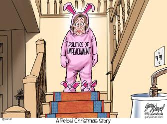 Political Cartoon U.S. Politics of Impeachment A Pelosi Christmas Story
