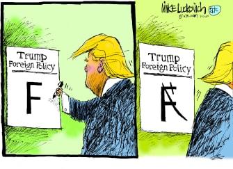Political Cartoon U.S. Trump foreign policy Iran sharpie