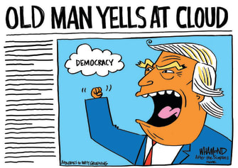 Political Cartoon U.S. Trump Abe Simpson election