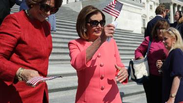 Nancy Pelois on the steps of the Capitol