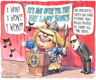 Political Cartoon U.S. Trump 2020 election