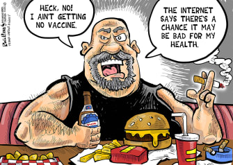 Editorial Cartoon U.S. anti vaccine health covid