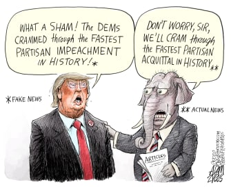 Political Cartoon U.S. Trump GOP impeachment