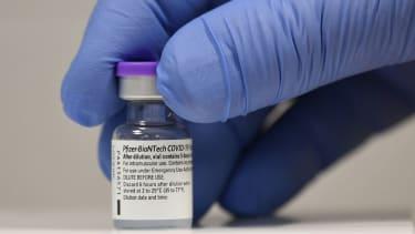 A vial of Pfizer COVID-19 vaccine.