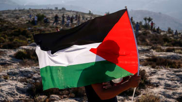 A man holding a Palestinian flag.