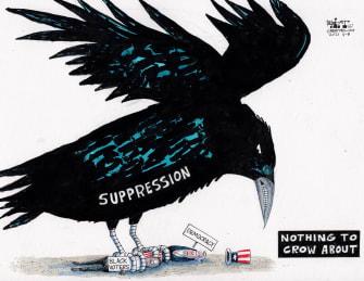 Political Cartoon U.S. georgia voter suppression jim crow