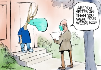 Political Cartoon U.S. Democrats Polls 2020
