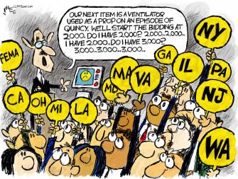 Political Cartoon U.S. Coronavirus DOH Quincy E.H. ventilators states bidding