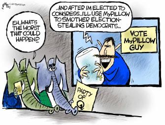 Political Cartoon U.S. mike lindell mypillow gop