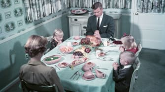 If your family dinner looks nothing like this, you're not alone.