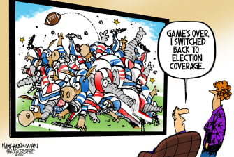 Political Cartoon U.S. GOP Democrats 2020