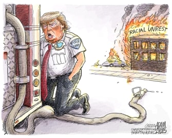 Political Cartoon U.S. Trump Minneapolis George Floyd response