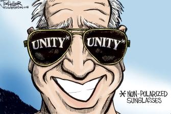 Political Cartoon U.S. Biden unity