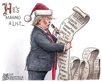 Political Cartoon U.S. Santa Trump Enemies List