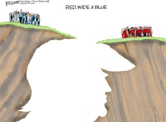 Political Cartoon U.S. Trump Political Divide Red Wide And Blue