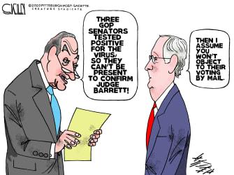 Political Cartoon U.S. McConnell Schumer Barrett SCOTUS