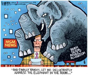 Political Cartoon U.S. Biden Tara Reade allegation mainstream media