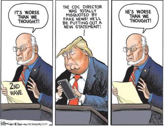 Political Cartoon U.S. CDC coronavirus Trump second wave