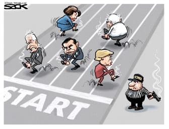 Political Cartoon U.S. Joe Biden Bernie Sanders Elizabeth Warren Pete Buttigieg Iowa Caucus confusion race