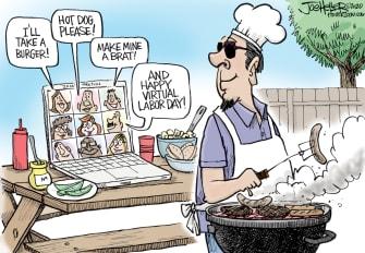 Editorial Cartoon U.S. Labor Day social distancing